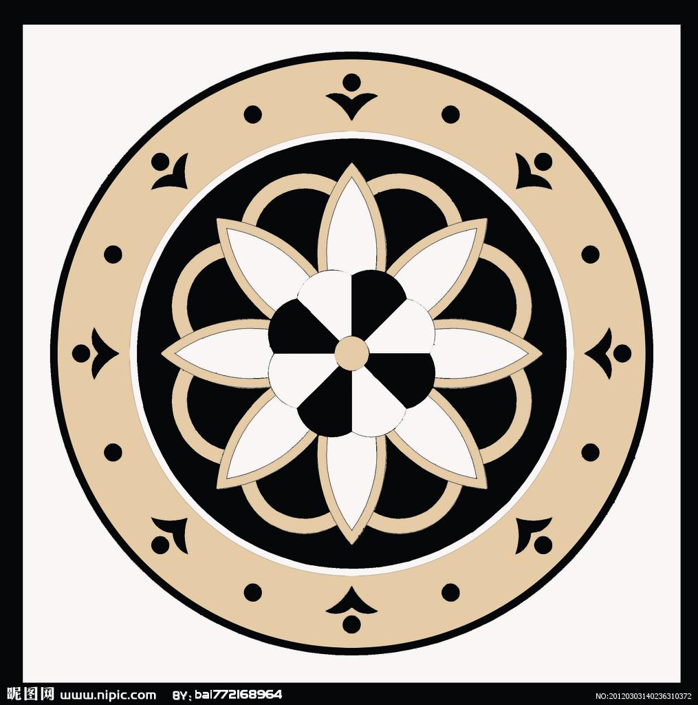 欧式圆形拼花高清贴图